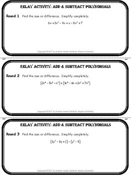 Add & Subtract Polynomials Relay Activity