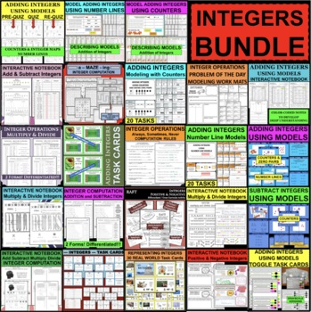 Add Integers Set of 60 Task Cards Station Activity FUN Differentiated