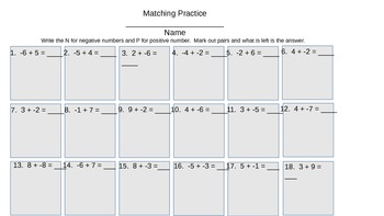 Add Subtract Positive and Negative Integers Matching Up Why the rules Work