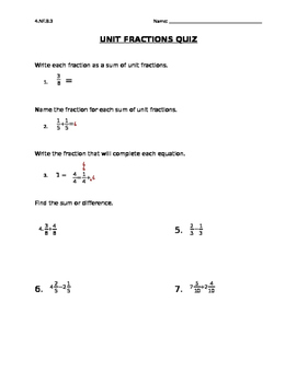 Add & Subtract Fractions Quiz with Like Denominators