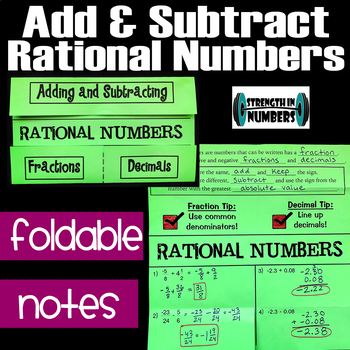 Add & Subtract Rational Numbers Foldable Notes Interactive Notebook