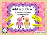 Add & Subtract Two Digit Numbers--no regrouping--robot theme
