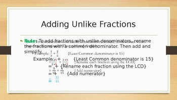 Add/Subtract UNLIKE Fractions