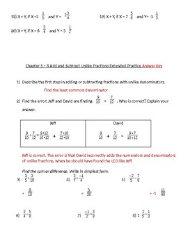 Add/Subtract UNLIKE fractions Practice Problems