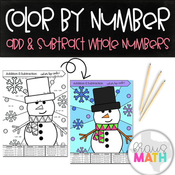 Add & Subtract Whole Numbers Color by Number: Winter Wonderland! (3rd Grade)