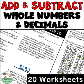 Add/Subtract Whole and Decimal Numbers Worksheets No Prep TEKS 4.4A, 4.NBT.B.4