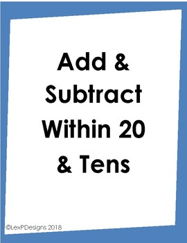 Add & Subtract Within 20 and Tens