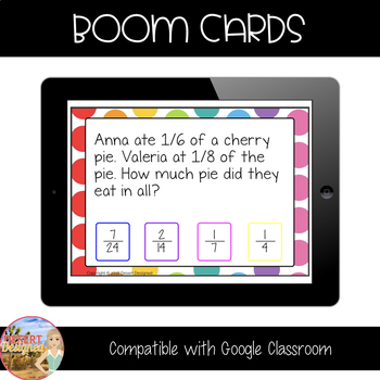 Add & Subtract Fractions Word Problems - Boom Cards