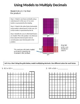 Add, Subtract, and Multiply Decimals Using Models
