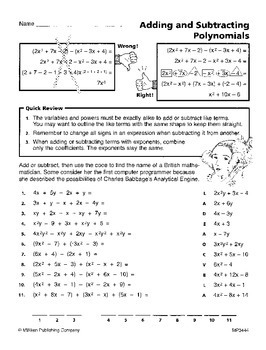 Add, Subtract, and Multiply Polynomials (CCSS HSA-APR.A.1)