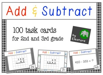 Add & Subtract in columns - 100 task cards