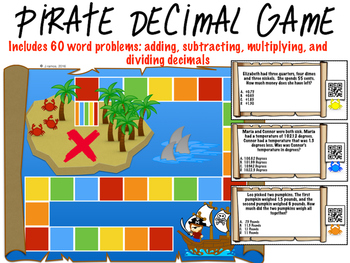 Add, Subtract, multiply, divide decimal Pirate Game with QR codes