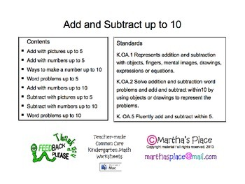 Add & Subtract to 10