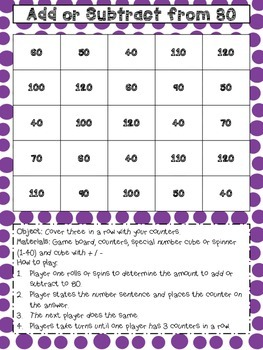 Add & Subtract to 80 & 40 Tic Tac Toe