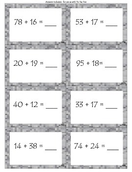Add / Subtract with Hundred Chart: activity and assessment