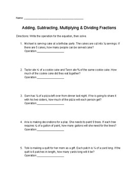 add subtract multiply divide fractions word problems teaching    add subtracting multiply  divide fractions worksheet  h
