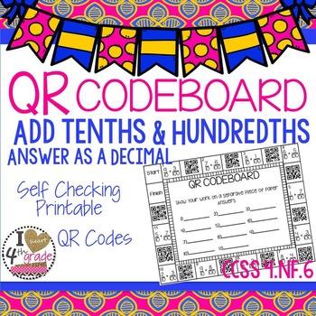Add Tenths & Hundredths answer as a Decimal QRBOARD  CCSS