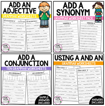 Add The Part of Speech and Grammar to the Sentence - Worksheet Bundle