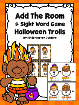 Add The Room & Sight Word Pocket Chart Game -Halloween Trolls