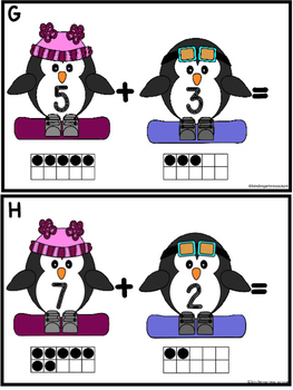 Add The Room  Sums To Ten (Penguins Skiing)