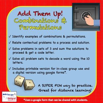 Add Them Up! Combinations & Permutations