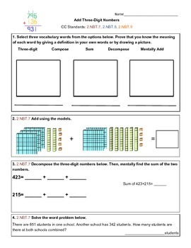 Add Three-Digit Numbers Assessment