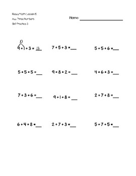 Add Three Numbers Grade 1 Extra Practice - Ready Math Aligned