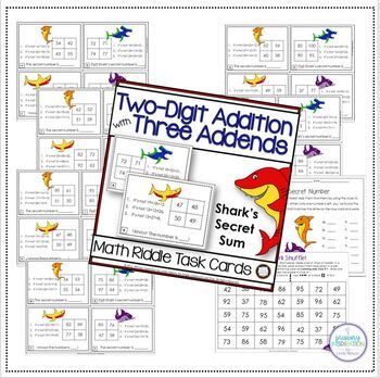 Add Three Two Digit Numbers Riddle Activities Bundle