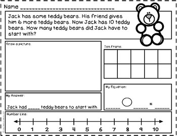 Add To: Start Unknown - Addition Story Problems {Numbers to 10} Word Problems
