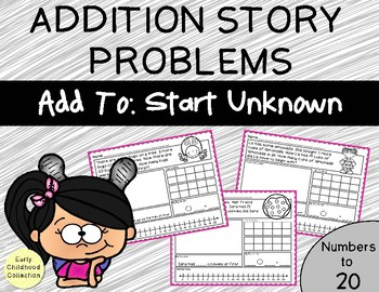 Add To: Start Unknown - Addition Story Problems {Numbers to 20} Word Problems