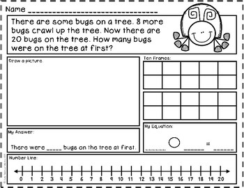 To: Start Unknown - Addition Story Problems {Numbers to 20} Word ...