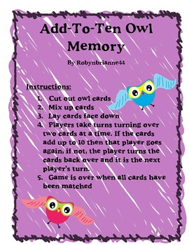 Add-To-Ten Owl Memory