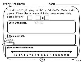 Add To Word Problems-Student Pages (First Grade, 1.OA.1)