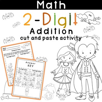 Add Two Digit Numbers (no regrouping) Halloween Cut and Paste Activity