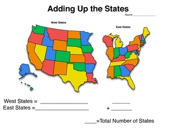 Add Up the States - Addition Worksheet