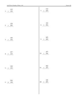 Whole Number Addition Within 1000 Perfect Practice Sheets (3.NBT.2)