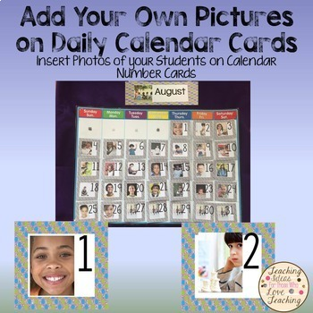 Add Your Own Pictures:  Dotted Daily Calendar Cards