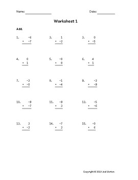 Add a 1-digit number to a 1-digit number with mixed negatives (50 worksheets)