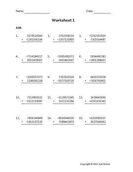 Add a 10-digit number to a 10-digit number with a negative (50 worksheets)