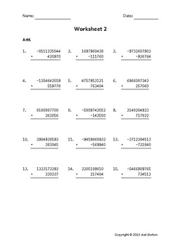 Add a 10-digit number to a 6-digit number with mixed negatives (50 worksheets)