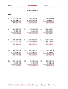 Add a 10-digit number to a 9-digit number with a negative (50 worksheets)