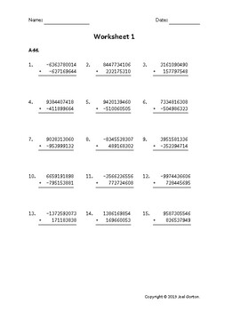 Add a 10-digit number to a 9-digit number with mixed negatives (50 worksheets)