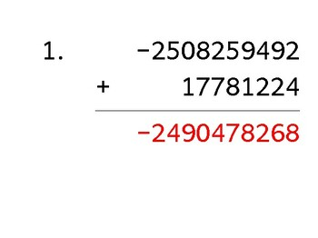 Add a 10-digit number to an 8-digit number with a negative (50 worksheets)