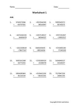 Add a 10-digit number to an 8-digit number with mixed negatives (50 worksheets)
