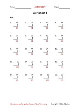 Add a 2-digit number to a 1-digit number (50 worksheets)