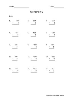 Add a 3-digit number to a 1-digit number with mixed negatives (50 worksheets)