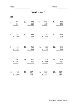 Add a 3-digit number to a 3-digit number (50 worksheets)