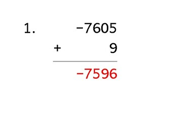 Add a 4-digit number to a 1-digit number with mixed negatives (50 worksheets)