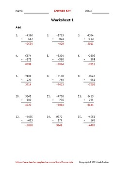 Add a 4-digit number to a 3-digit number with mixed negatives (50 worksheets)