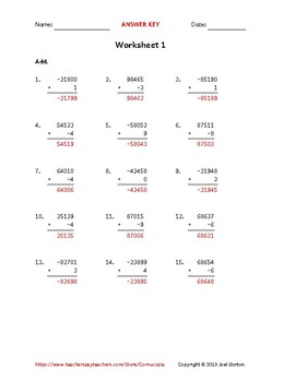 Add a 5-digit number to a 1-digit number with a negative (50 worksheets)